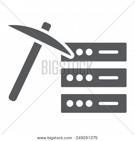 Data Mining Glyph Icon, Data And Analytics, Mining Pick Sign, Vector Graphics, A Solid Pattern On A