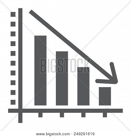 Decrease Glyph Icon, Reduction And Analytics, Chart Sign, Vector Graphics, A Solid Pattern On A Whit
