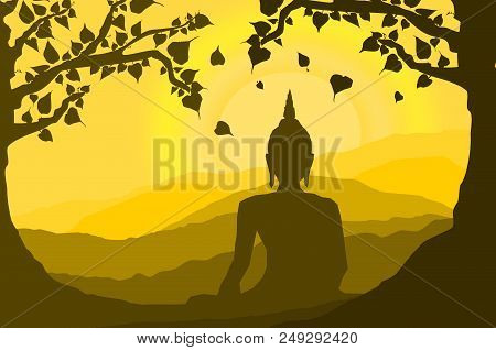 Buddha Statue Under The Bodhi (sacred Fig) Tree And Mountain On Sunset Background,sunset, Silhouette