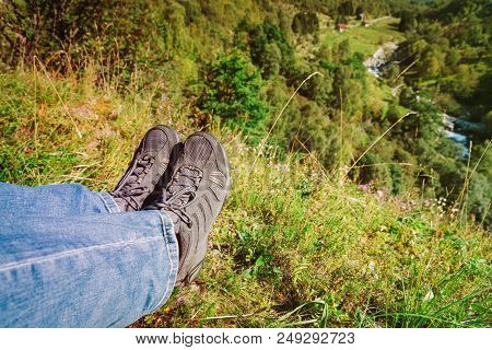Hiking Boots Close Up. Tourist Travel Hike In Nature. Active Lifestyle