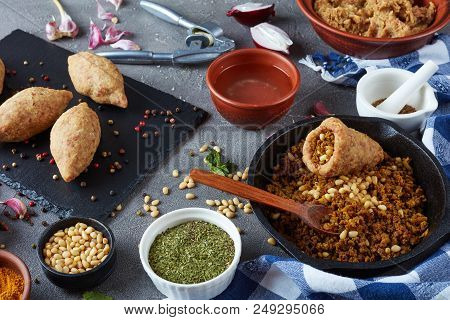 Cooking A Kibbeh On A Kitchen Of Ground Beef Meat Mixed With Bulgur, Fried Minced Meat With Pine Nut