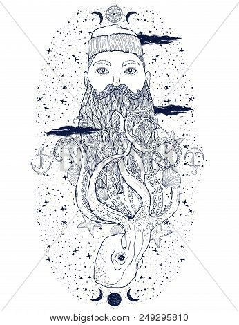 Hand Drawn Vintage Hipster Sailor Beard Portrait. Old Tatoo Seaman. Man Is An Ideal Art For Print,co