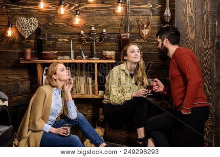 Friends, Family Spend Pleasant Evening, Interior Background. Family Enjoy Conversation In Gamekeeper