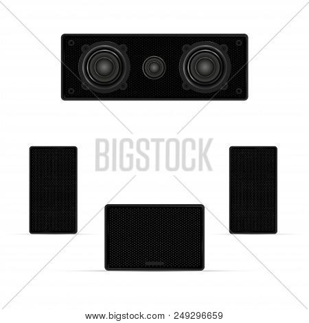 Audio System, Musical Columns, Loudspeakers And Subwoofer. Realistic Vector Illustration. Background