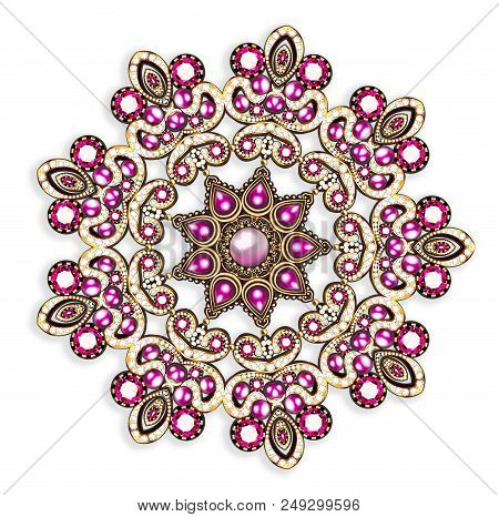 Illustration  brooch pendant with  and precious stones. Filigree victorian jewelry. Design element poster