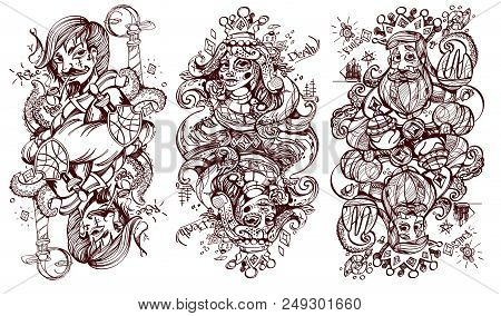 Black And White Sketch Of The Characters. King, Queen And Jack Of Diamonds Suit. Playing Cards.