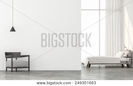 Minimal Style Bedroom 3d Render.there Are Concrete Floor,white Wall.finished With Light Gray Fabric
