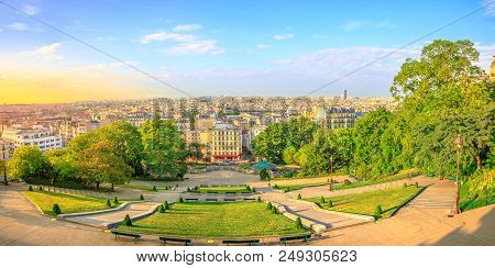 Scenic Panorama Of Paris At Sunset And Skyline Above Paris. Wide Angle View Of Staircase Of Sacred H