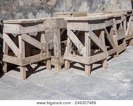 Wooden Easels Used By The Sculptors For The Creation Of Sculptures In White Marble