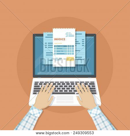 Online Payment Service. Invoice Form On The Laptop Screen. Human Hands On The Keyboard. Internet Ban