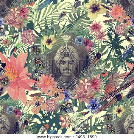 Seamless Hand Drawn Vintage Style Watercolor Pattern With Maharajah Head, Flowers, Leaves, Feathers.