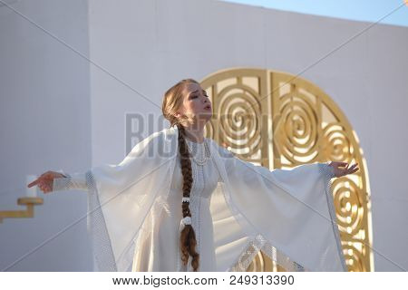 ST. PETERSBURG, RUSSIA - JULY 12, 2018: Olga Cheremnykh as Marfa in the opera The Tsar's Bride of N. Rimsky-Korsakov outdoors during the festival All Together Opera. It was first of 4 performances