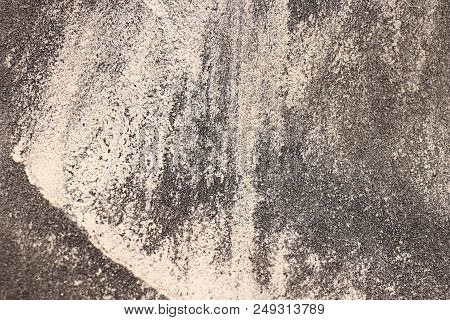 Sandpaper Texture with White Rubbing. Rough Grit Abrasive Background. Used Grain Emery Backdrop. poster