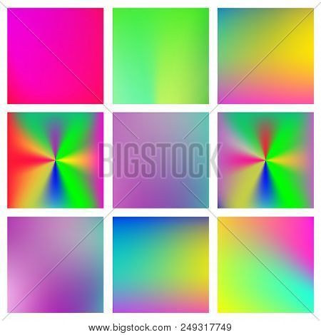 Abstract Set Of Modern Bright Color Gradient Backgrounds And Texture For Mobile Applications And Sma
