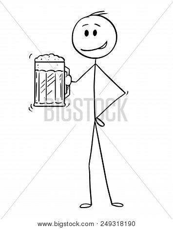 Cartoon Stick Drawing Conceptual Illustration Of Man Holding Half-litre Or Half-liter Or Pint Or Mug