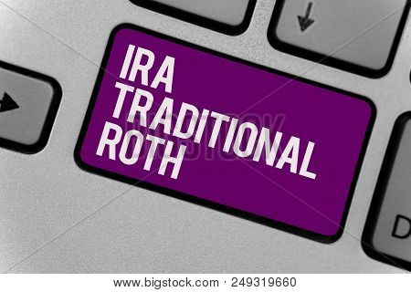 Text sign showing Ira Traditional Roth. Conceptual photo are tax deductible on both state and federal Keyboard key office typing class work click assign button computer program poster