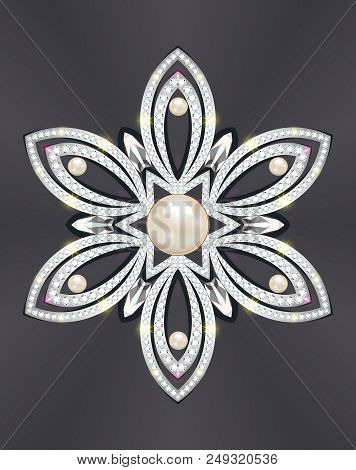 Illustration of a jewelry brooch with pearls and precious stones. Filigree Victorian decorations. Design Element poster