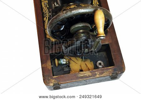 Compartment Of Vintage Sewing Machine For Storing Thread, Spools, Needles And Small Spare Parts. Is