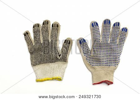 Similar Working Gloves, With Colored Dotted Surface, Isolated On White Background, With Clipping Pat