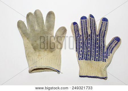 Pair Of Dirty Gloves For Gardening. Dotted Anti-skid Surface. Elastic Cuff. Blue Hem. From Both Side