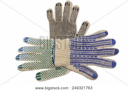 Knitted Gloves For Manual Labor. Anti-skid Covering, Made Of Colored Rubber Dots, Neatly Laid Out An