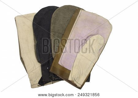 Set Of Work Gauntlets. One-finger Gloves For Welders (leather Top), Laborers And Riggers (colored An