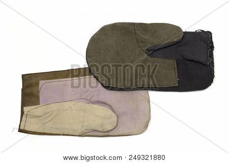 Mittens For Welders And General Workers. Cotton And Leather In Top, Linen In Underside. Isolated, Wi