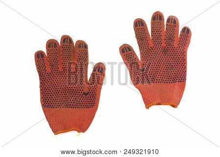 Orange Protective Gloves Pair. Covered From The Working Side By Blue Rubber Anti-skid Dots. Isolated