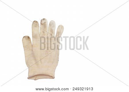 White Dirty Glove Without Warming, For Manual Works, Thin Fabric Of Woven Strings (fine Yarn). Isola