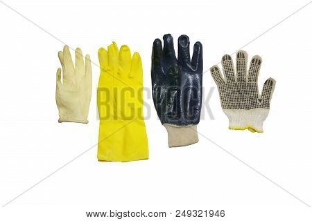 Assorted Protective Gloves Of Rubber And Cloth Materials, For Household, Gardening And Cleaning, Iso