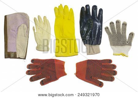 Protective Gloves. Multiple Types, Rubber And Cloth Materials. For Household, Gardening And Cleaning