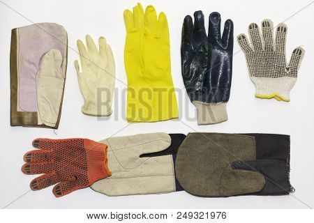 Mix Of Working Protective Gloves: Textile (for Gardening, With Rubber Dots, Nitrile Coated); Rubber