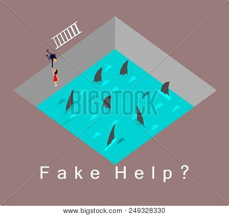 Fake Help Concept,businessman  Just Act Like Pulling  Poor Woman Out Of A Water And Shark,vector.
