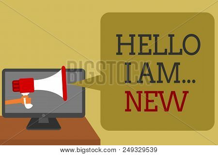 Text Sign Showing Hello I Am... New. Conceptual Photo Introduce Yourself Meeting Greeting Work Fresh