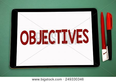 Conceptual Hand Writing Showing Objectives. Business Photo Showcasing Goals Planned To Be Achieved D