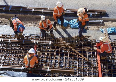 Newcastle, Nsw, Australia - July13, 2018: Preparing Formwork For A Concrete Pour On The Newcastle Li