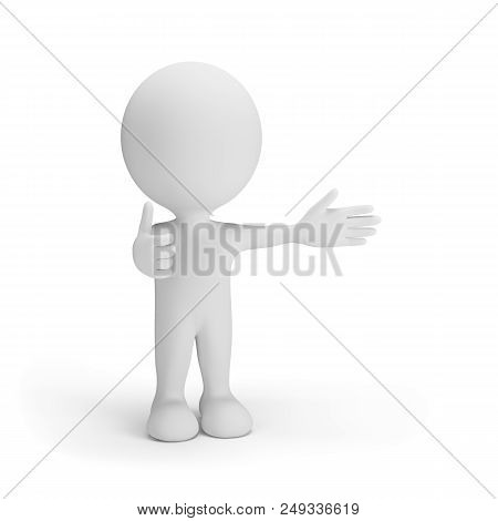 A Successful Man With A Raised Finger Up. 3d Image. White Background.