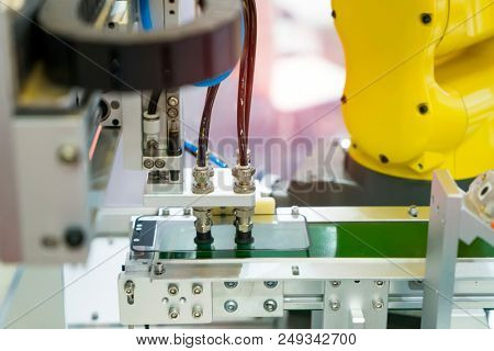 robotic screen protector film or glass cover in manufacture phone factory