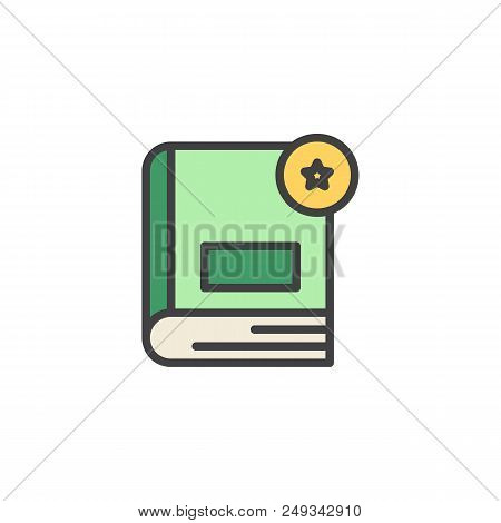 Book Rating Filled Outline Icon, Line Vector Sign, Linear Colorful Pictogram Isolated On White. Book