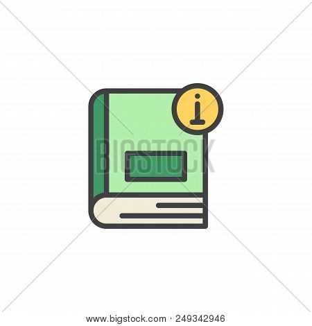 Information Book Filled Outline Icon, Line Vector Sign, Linear Colorful Pictogram Isolated On White.
