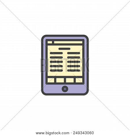 Electronic Book Reader Tablet Filled Outline Icon, Line Vector Sign, Linear Colorful Pictogram Isola