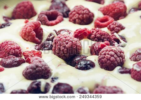 Raspberry Cake Background. Close Up Of Raspberry Cake Background. Fresh Raspberry Cake Background. B