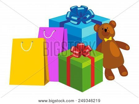 Shopping Bags, Gift Boxes And Teddy Bear. Concept Christmas Shopping, Christmas Sales, Holiday Prese
