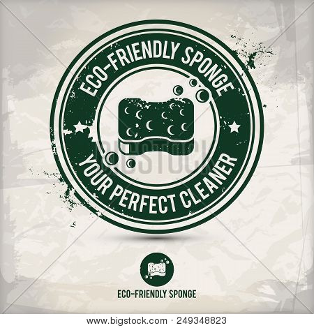 Alternative Eco Friendly Sponge Stamp Containing: Two Environmentally Sound Eco Motifs In Circle Fra
