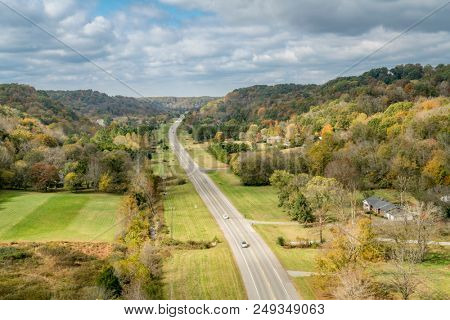 Tennessee highway 96 as seen from Double Arch Bridge at Natchez Trace Parkway near Franklin, TN, fall scenery