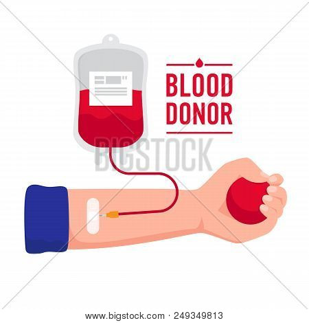 The Hand Of Recipient Receiving The Blood Transfusion Isolated On White Background. World Blood Dono
