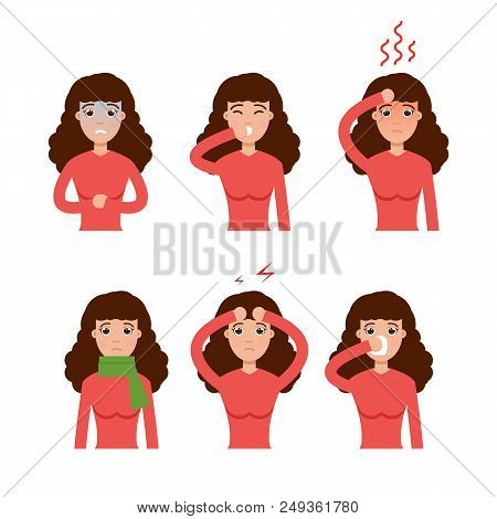 Cold, Grippe, Flu Or Seasonal Influenza Common Symptoms Icon. Vector Illustration.