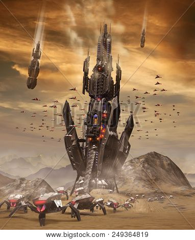Spaceships Of An Alien Invasion From The Stars Landing On Earth, Deploying Their Forces. 3d Render P