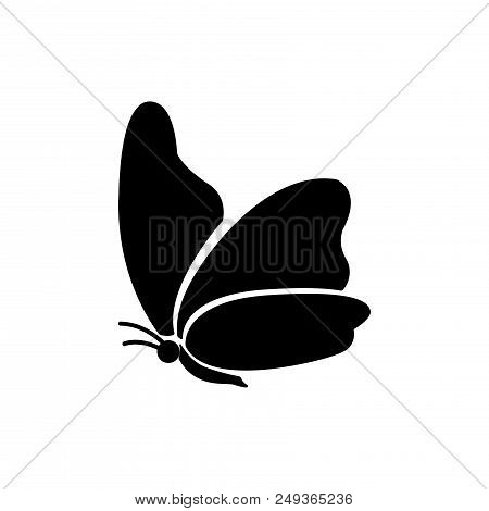 Black Butterfly Vector Icon Flat Style Illustration For Web, Mobile, Logo, Application And Graphic D