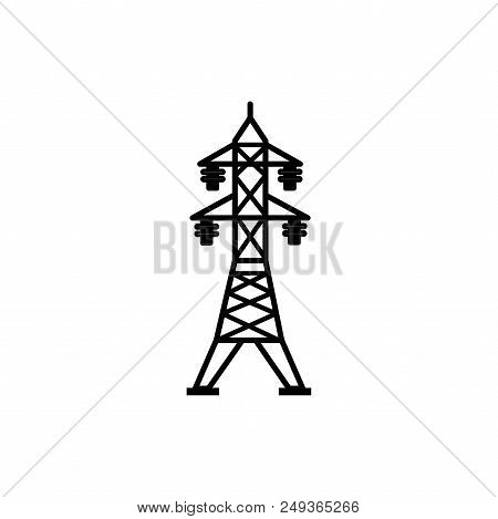 Power Line Vector Icon Flat Style Illustration For Web, Mobile, Logo, Application And Graphic Design